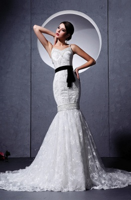 Modern Brautkleider Weiß Spitze Spaghetti Strap Meerjungfrau Brautmoden Hochzeitskleider Mit Schleppe_1