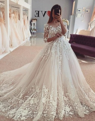 Beautiful wedding dresses with sleeves | Lace Bridal Wear Online_2