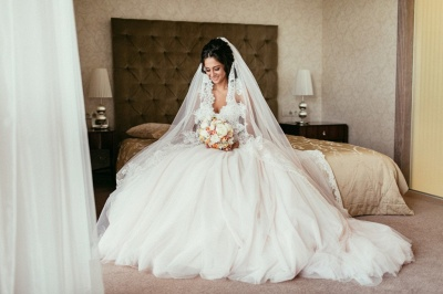 Princess White Wedding Dresses with Lace Tulle Beaded Bridal Wedding Dresses_4
