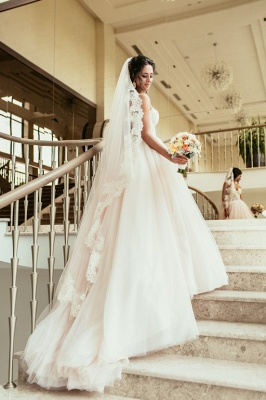 Princess White Wedding Dresses with Lace Tulle Beaded Bridal Wedding Dresses_2