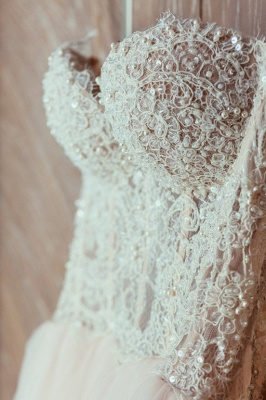 Princess White Wedding Dresses with Lace Tulle Beaded Bridal Wedding Dresses_3