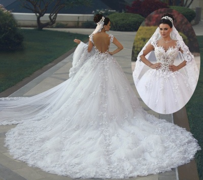 Luxury Weiße Brautkleider Spitze A line Träger Hochzeitskleider Mit Schleppe_2