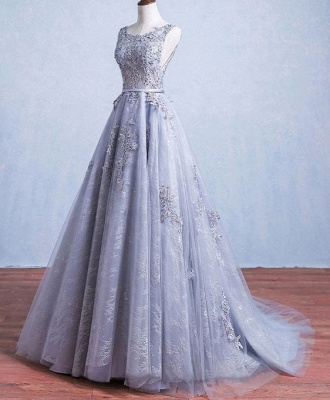 Elegant Silver Wedding Dresses Lace Straps Tulle Bridal Gowns Wedding Dress_2