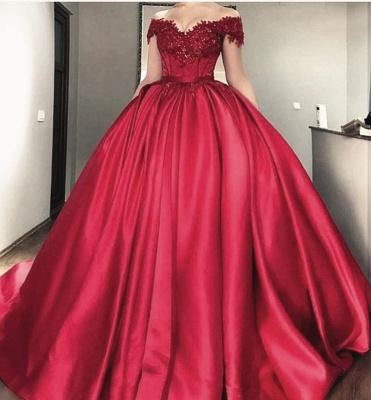 Buy designer red wedding dresses with lace princess wedding dresses online_2