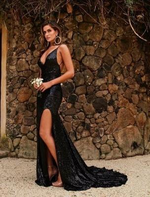 Modern Abendkleid Lang Schwarz | Abiballkleider Günstig Online_1