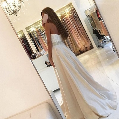 White Evening Dresses Long With Lace A Line Satin Evening Wear Prom Dresses_2