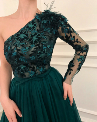 Dark green evening dresses with sleeves | Lace evening dress chiffon_2