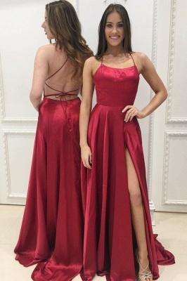 Günstige Abendkleider Rot Späghetti Strap Etuikleid Lange Abiballkleider_1
