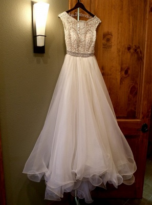 White wedding dresses with lace beaded organza bridal wedding dresses_3