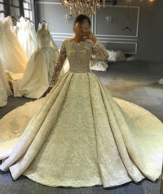 Luxury wedding dresses with sleeves | Lace Wedding Dresses A Line Online_1
