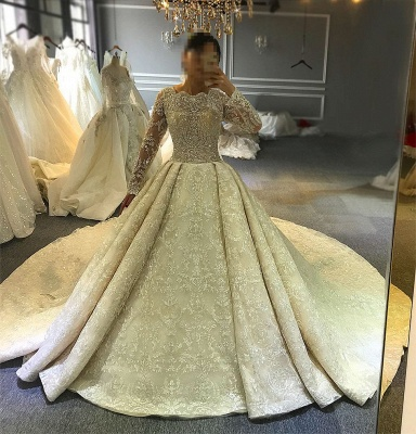 Luxury wedding dresses with sleeves | Lace Wedding Dresses A Line Online_2