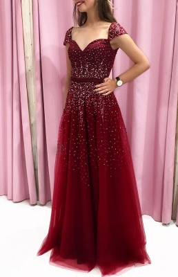Elegante Abendkleider Lang Rot | Abiballkleider Bodenlang Online_1