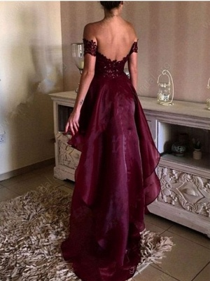 Wine Red Cocktail Dresses Short Long With Lace A Line Organza Prom Dresses Party Dresses_3