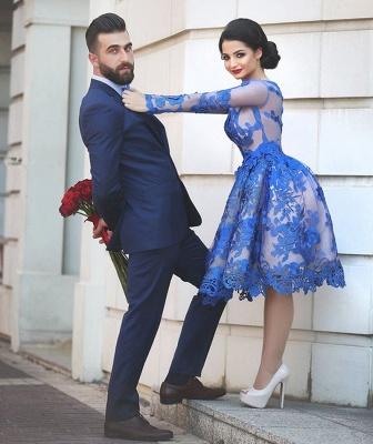 Royal Blau Kurze Cocktailkleider Lang Ärmel Spitze Abendkleider Partykleider_4