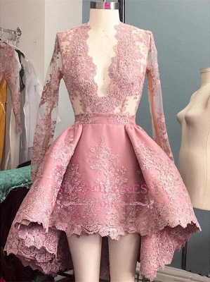 Pink Cocktail Dresses Lace Short Long A Line Prom Dresses Prom Dresses_1