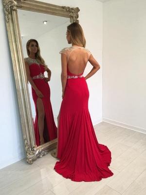 Meerjungfrau Stil Abchlussballkleider Lang Rot Günstige Abendkledier Abllkleider Chiffon_2