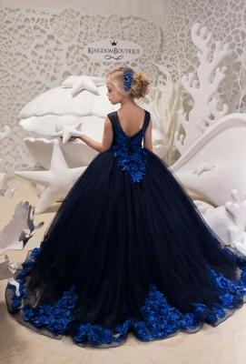 Elegante Blumenmädchenkleider Günstig | Kleider für Blumenmädchen Blau_2