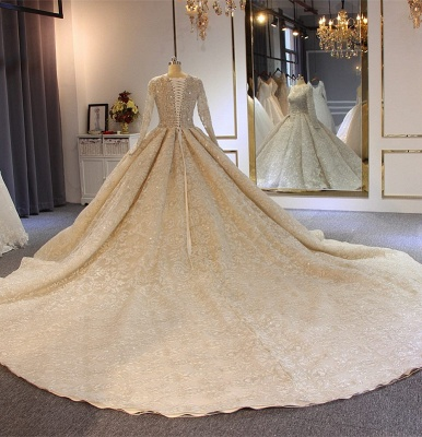 Luxury wedding dresses with sleeves | Lace Wedding Dresses A Line Online_3