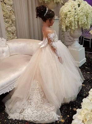 Cheap Flower Girl Dresses With Sleeves Lace A Line Tulle Dresses For Flower Girl Wedding Gowns_4
