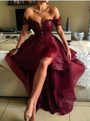 Wine Red Cocktail Dresses Short Long With Lace A Line Organza Prom Dresses Party Dresses_1