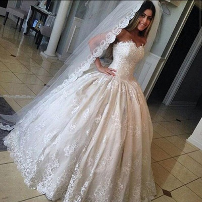 Elfenbein Brautkleider Prinzessin Spitze Hochzeitskleider Brautmoden Maße Anfertigen_2