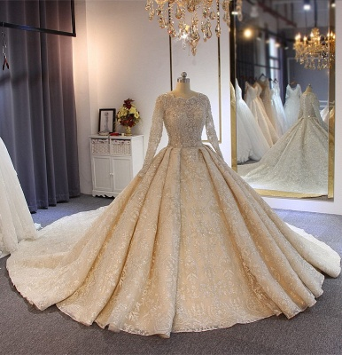 Luxury wedding dresses with sleeves | Lace Wedding Dresses A Line Online_4