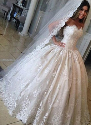Ivory Wedding Dresses Princess Lace Wedding Dresses Bridal Wear Measurements Customize_1
