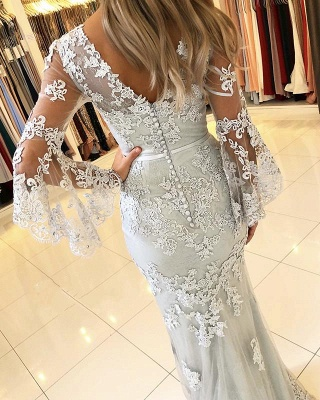 Fashion Evening Dresses Long Lace With Sleeves Floor Length Evening Wear Prom Dresses Online_3
