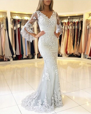 Fashion Evening Dresses Long Lace With Sleeves Floor Length Evening Wear Prom Dresses Online_2