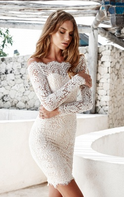 Cheap Cocktail Dresses With Sleeves Lace Mermaid Short Evening Dresses Under 100_5