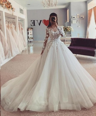 Luxury wedding dresses A line | Lace Sleeves Wedding Dresses Bridal Online_2