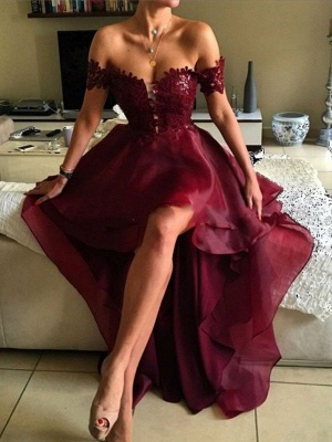 Wine Red Cocktail Dresses Short Long With Lace A Line Organza Prom Dresses Party Dresses_2
