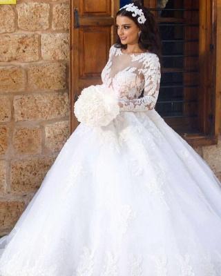 Luxury Weiße Brautkleider Mit Ärmel A-Linie Hochzeitskleider Günstig Organza_2