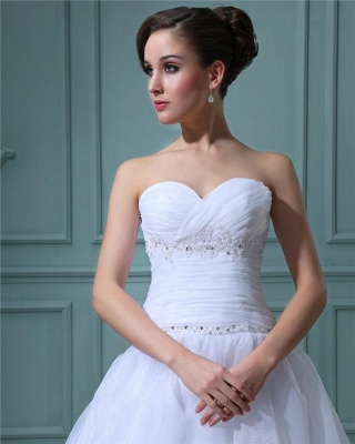 White Wedding Dresses Short A Line Organza Wedding Dresses Cheap_5
