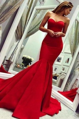 Schlichte Abendkleider Lang Rot | Abiballkleider Abendmoden Online