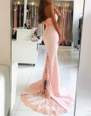 Rosa Abendkleider Lang mit Spitze Meerjungfrau Satin Abendmoden Abschlusskleider_2