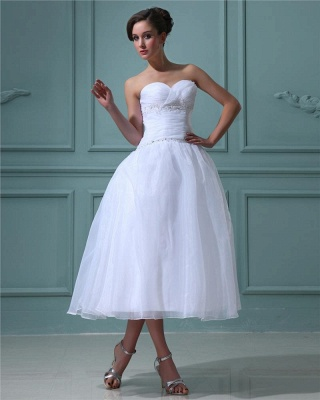 White Wedding Dresses Short A Line Organza Wedding Dresses Cheap_3
