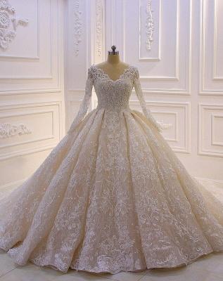 Designer Brautkleider Luxus | Spitze Hochzeitskleider mit Ärmel_1