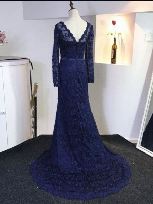 Elegant Dark Blue Evening Dresses Long Sleeves Lace Evening Wear Prom Dresses Cheap_2