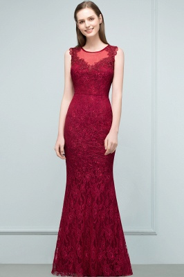 Wine red evening dresses long cheap lace mermaid evening wear for sale_1