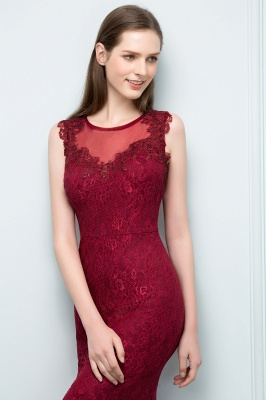 Wine red evening dresses long cheap lace mermaid evening wear for sale_3