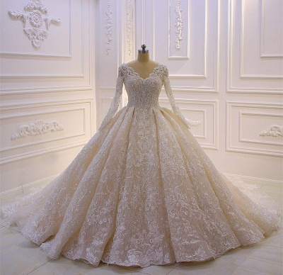 Designer Brautkleider Luxus | Spitze Hochzeitskleider mit Ärmel_3