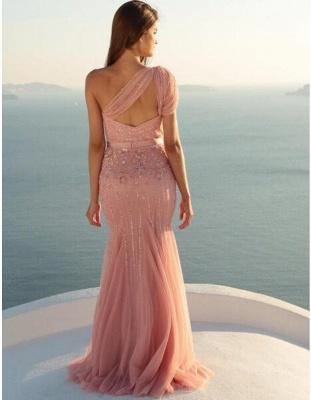 Schicke Abendkleider Lang Rosa Ein Schulter Meerjungfrau Tüll Perlen Abiballkleid Abendmoden_2