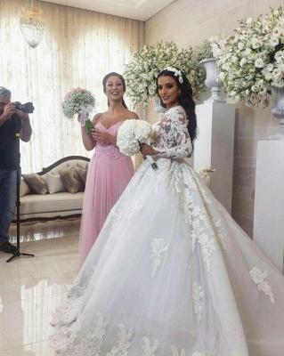 Luxury Weiße Brautkleider Mit Ärmel A-Linie Hochzeitskleider Günstig Organza_1