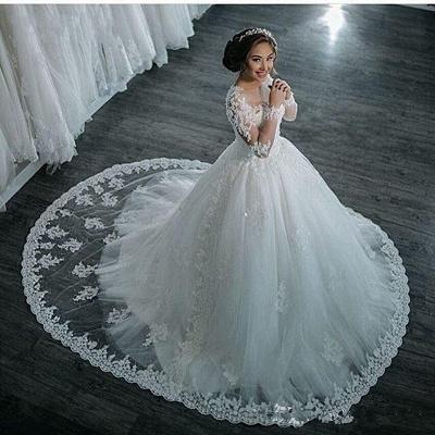 Günstige Lange Ärmel Brautkleider Weiße Mit Spitze Brautmoden Tüll Nachmäßig Anfertigen_5