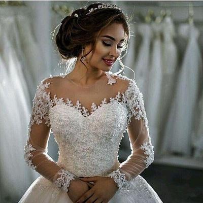 Günstige Lange Ärmel Brautkleider Weiße Mit Spitze Brautmoden Tüll Nachmäßig Anfertigen_3