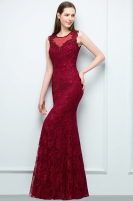 Wine red evening dresses long cheap lace mermaid evening wear for sale_2