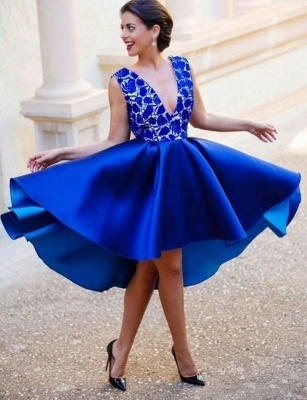 King Blue Short Cocktail Dresses With Lace V Neck A Line Evening Dresses Party Dresses_1