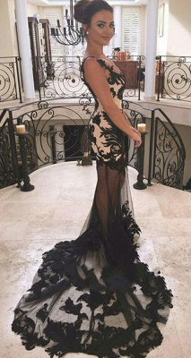 Elegant Black Long Evening Dresses Lace Mermaid Prom Dresses Evening Wear Online_2