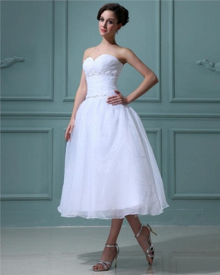 White Wedding Dresses Short A Line Organza Wedding Dresses Cheap_2